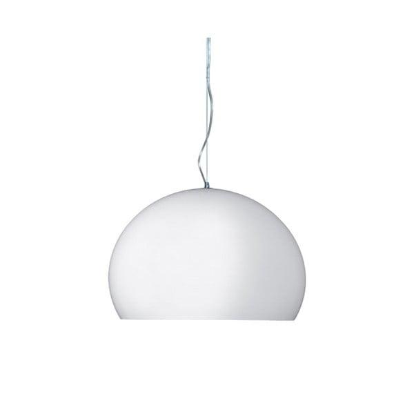 Lesklé biele stropné svietidlo Kartell Fly, ⌀38cm
