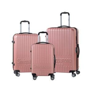 Sada 3 svetloružových cestovných kufrov na kolieskách s kódovým zámkom SINEQUANONE
