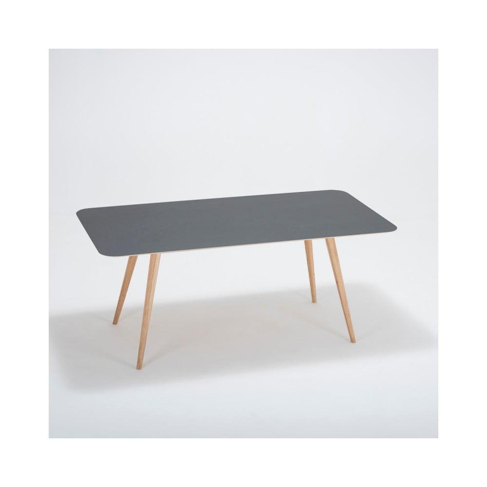 Jedálenský stôl z masívneho dubového dreva s čiernou doskou Gazzda Linn, 180 × 90 cm