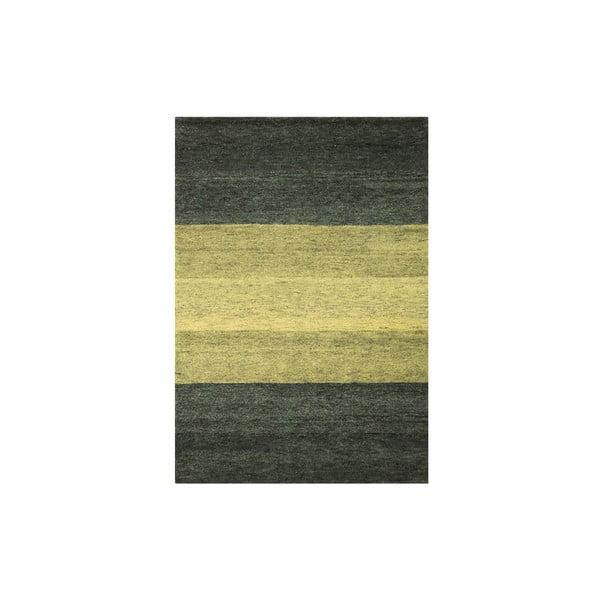 Vlnený koberec Baku Stripe Green, 70x140 cm