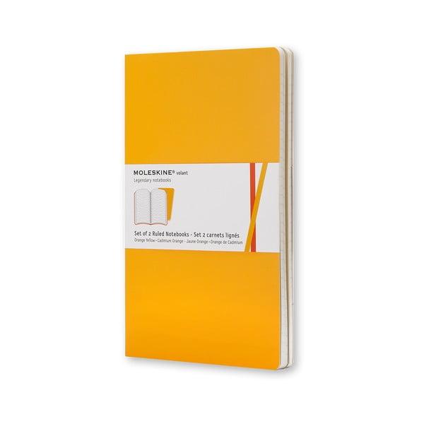 Sada 2 notesov Moleskine Volant 7x11 cm, žltá + linkované stránky