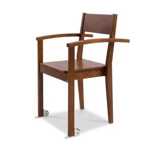 Tmavohnedá jedálenská stolička z brezového dreva s opierkami na ruky a kolieskami Kiteen Joki