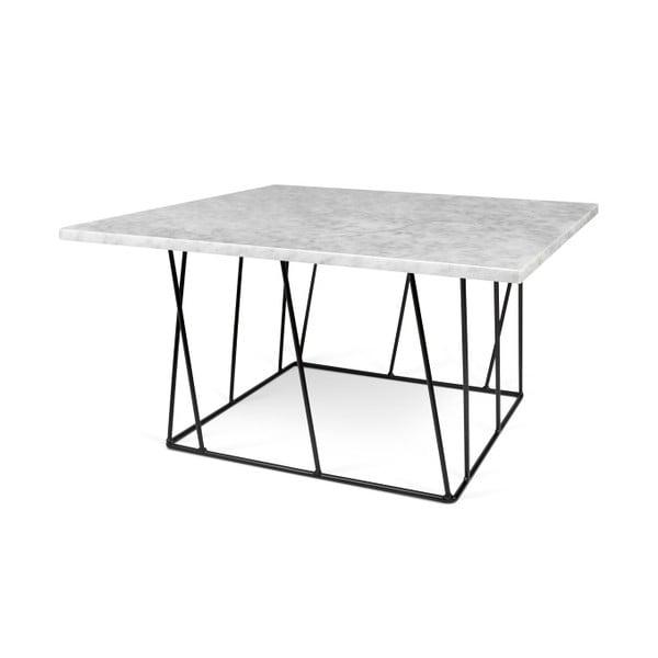 Biely mramorový konferenčný stolík s čiernymi nohami TemaHome Helix, 75cm
