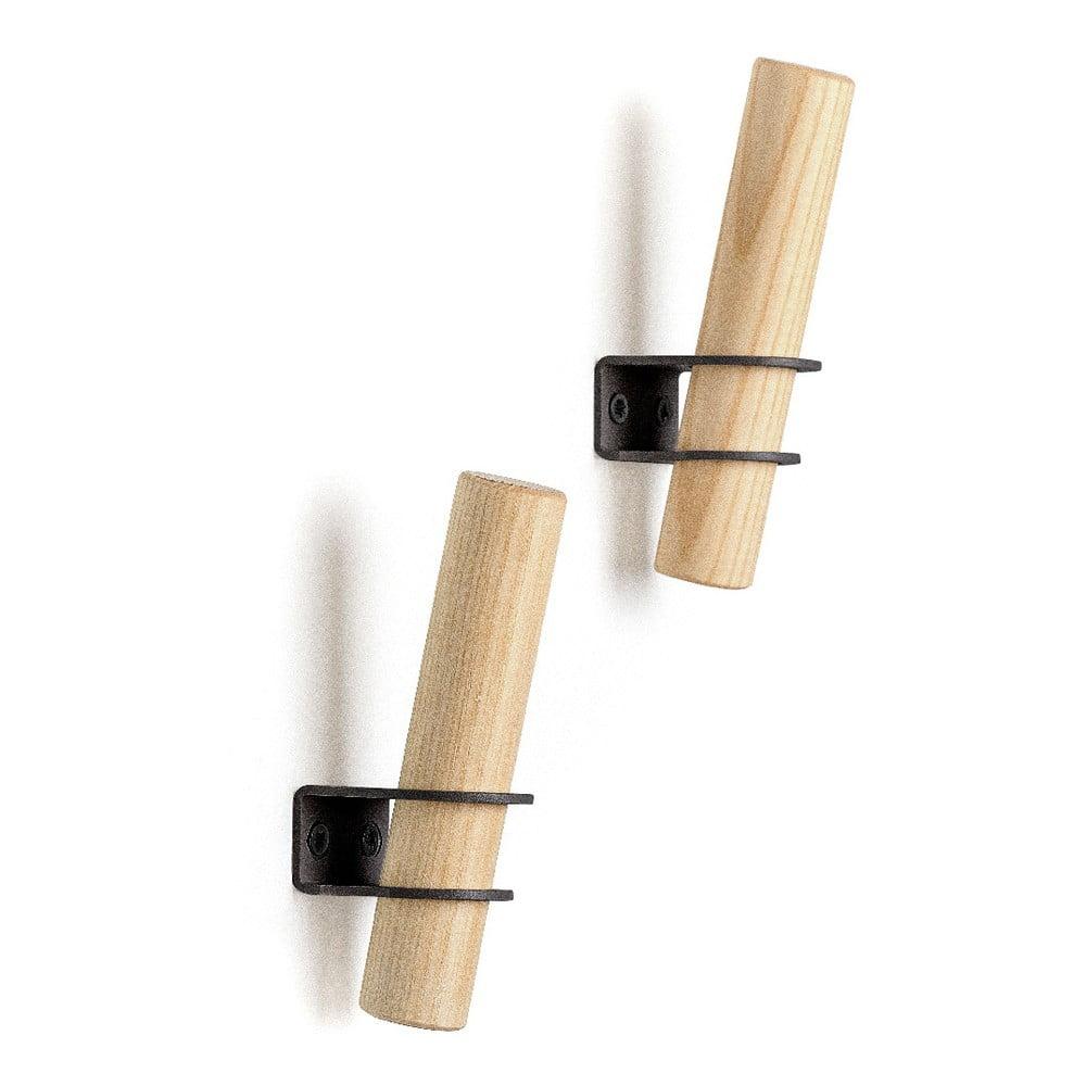 Súprava 2 háčikov z jaseňového dreva s čiernym držiakom EMKO Torch