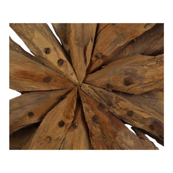 Dekorácia z teakového dreva HSM Collection Sunflower, 40 x 50cm