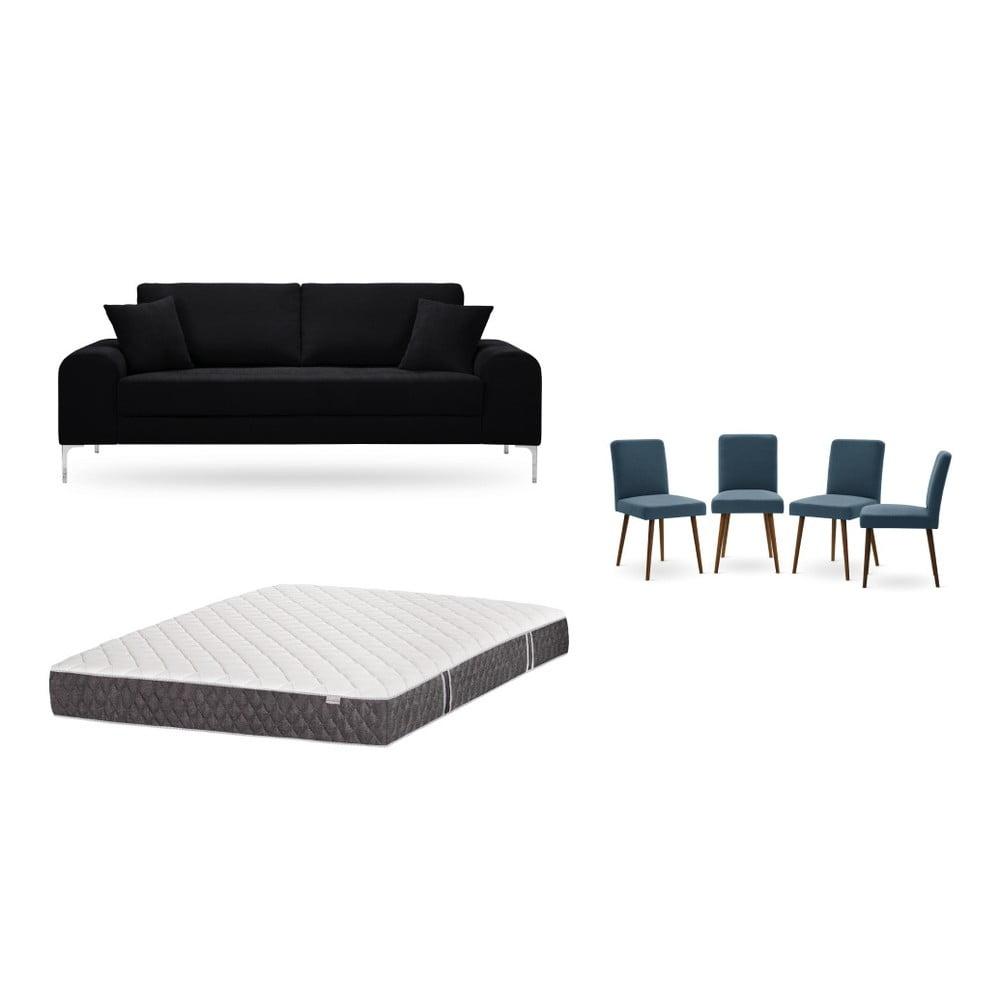 Set trojmiestnej čiernej pohovky, 4 modrých stoličiek a matraca 160 × 200 cm Home Essentials