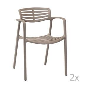 Sada 4 hnedých záhradných stoličiek sopierkami Resol Toledo Aire