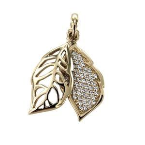 Pozlátený prívesok s bielymi krištáľmi Swarovski Elements Crystals Leaf