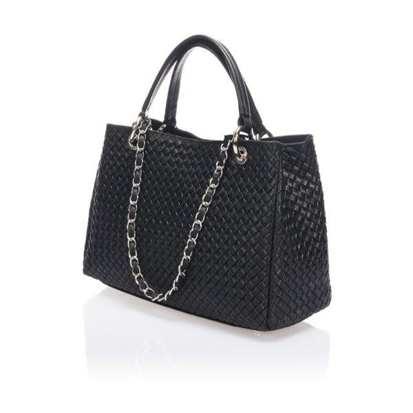 Čierna kožená kabelka Massimo Castelli Alessandra