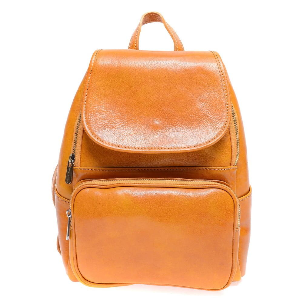 Koňakovohnedý kožený batoh Roberta M Francesca