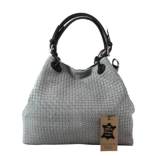 Sivá kožená kabelka Chicca Borse Tessa