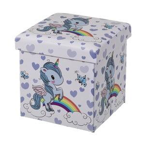 Modrý detský puf s úložným priestorom Unimasa Unicorn