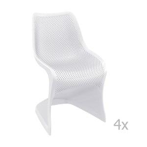 Sada 4 bielych záhradných stoličiek Resol Bloom
