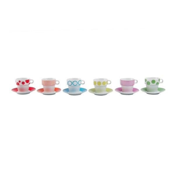 Sada 6 hrnčekov so stojanom Espresso Dots & Stripes