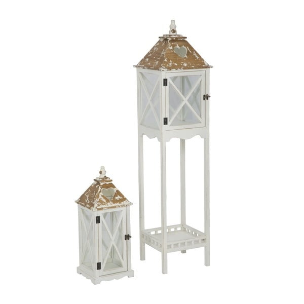Sada 2 bielych lampášov s konštrukciou z jedľového dreva Mauro Ferretti Hut