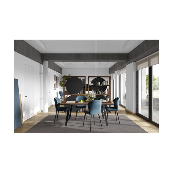 Jedálenský stôl s doskou z orecha a čiernymi nohami TemaHome Drift