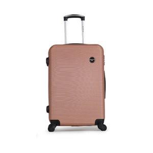 Svetloružový cestovný kufor na kolieskách BlueStar Porto, 64 l