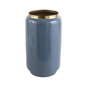 Modrá váza s detailom v zlatej farbe PT LIVING Flare, výška 25 cm