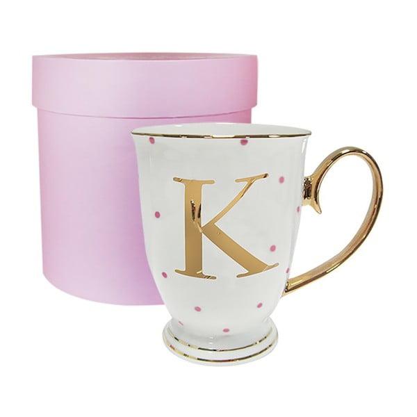 Písmenkový hrnček K s ružovými bodkami