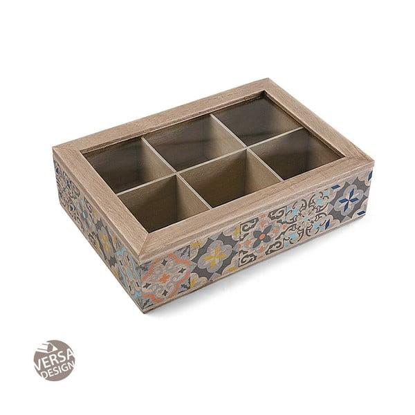 Drevený úložný box na čaj s 6 priehradkami Versa Tea