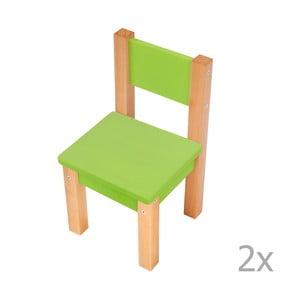 Sada 2 zelených detských stoličiek Mobi furniture Mario