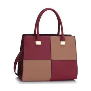 Vínovo-béžová kabelka L & S Bags Quadrio