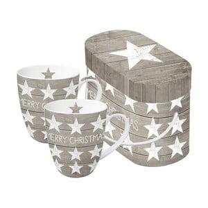 Sada 2 porcelánových hrnčekov s vianočným motívom v darčekovom balení PPD Merry Christmas Stars, 350 ml