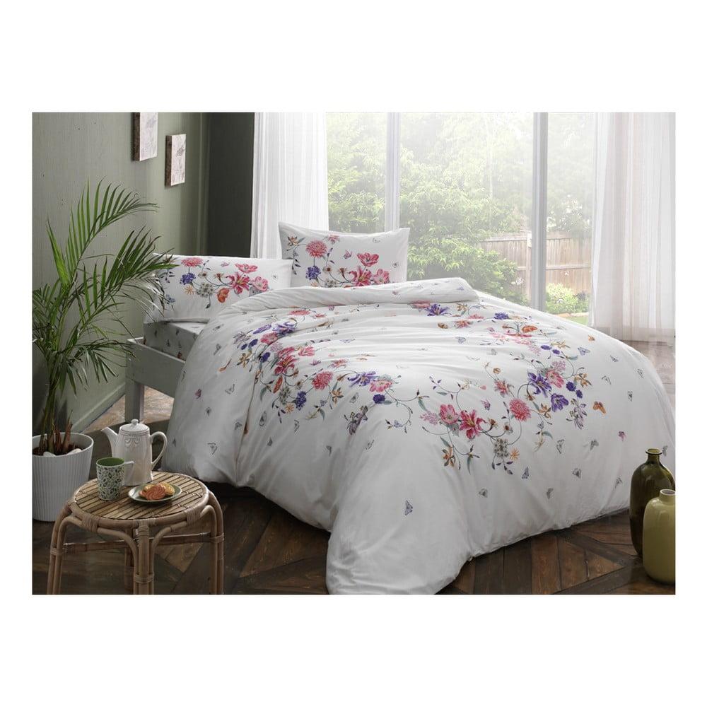 Bavlnené obliečky s prestieradlom na jednolôžko Madelyn V3 Pink, 160×220 cm