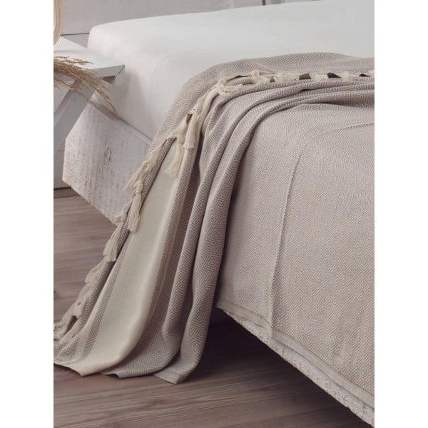 Prikrývka na posteľ Elmas Light Brown, 200x240 cm