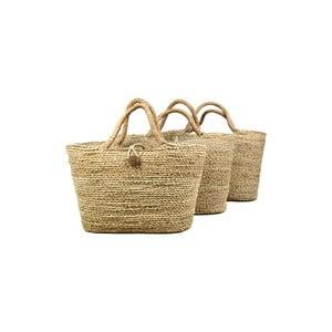 Sada 3 úložných košov z morskej trávy HSM collection Basket Set