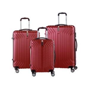 Sada 3 červených cestovných kufrov na kolieskách so zámkom SINEQUANONE