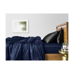 Modro-čierne bavlnené obliečky na dvojlôžko s modrou plachtou COSAS Maro, 200×220cm