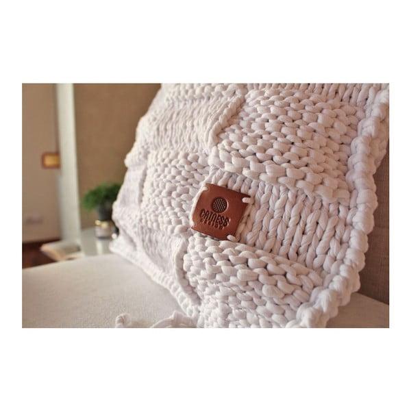 Pletený vankúš Catness, biela kocka, 50x50 cm