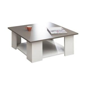 Biely konferenčný stolík so sivobéžovou doskou Symbiosis Square, 67 x 67 cm