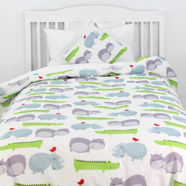 Detské bavlnené obliečky na paplón a vankúš Mr. Fox Hippo, 140×200cm