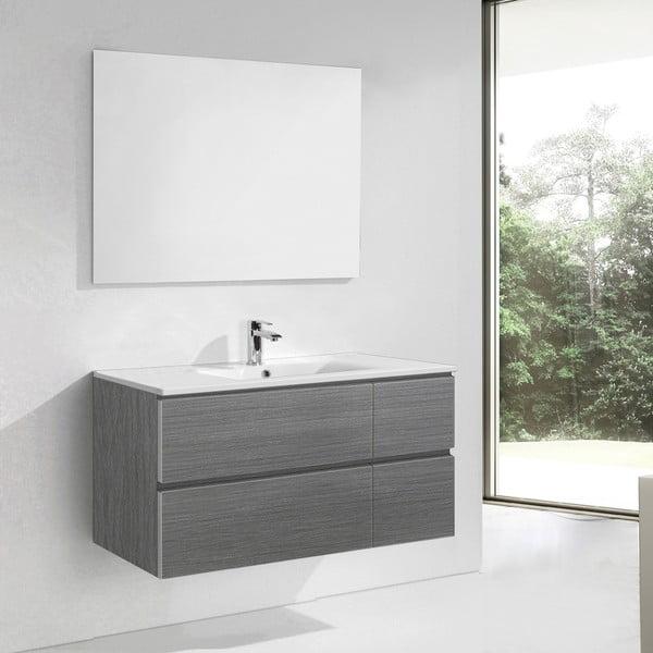 Kúpeľňová skrinka s umývadlom a zrkadlom Capri, odtieň sivej, 120 cm