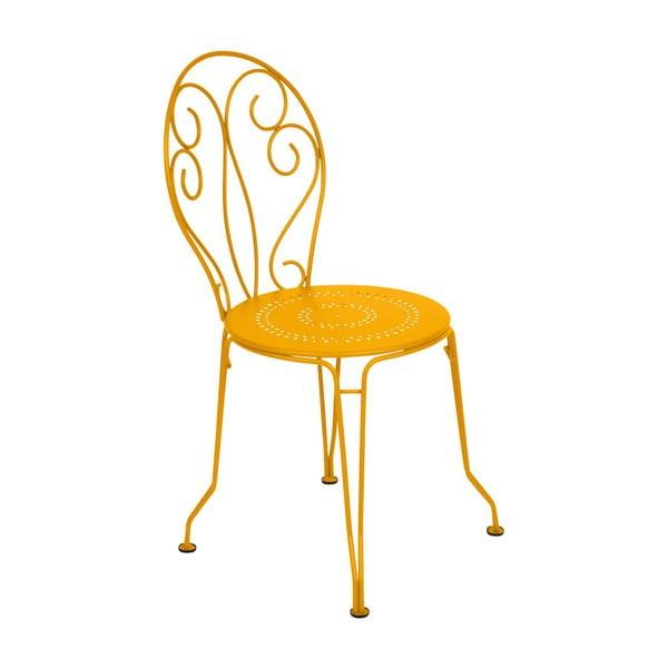 Žltá kovová stolička Fermob Montmartre