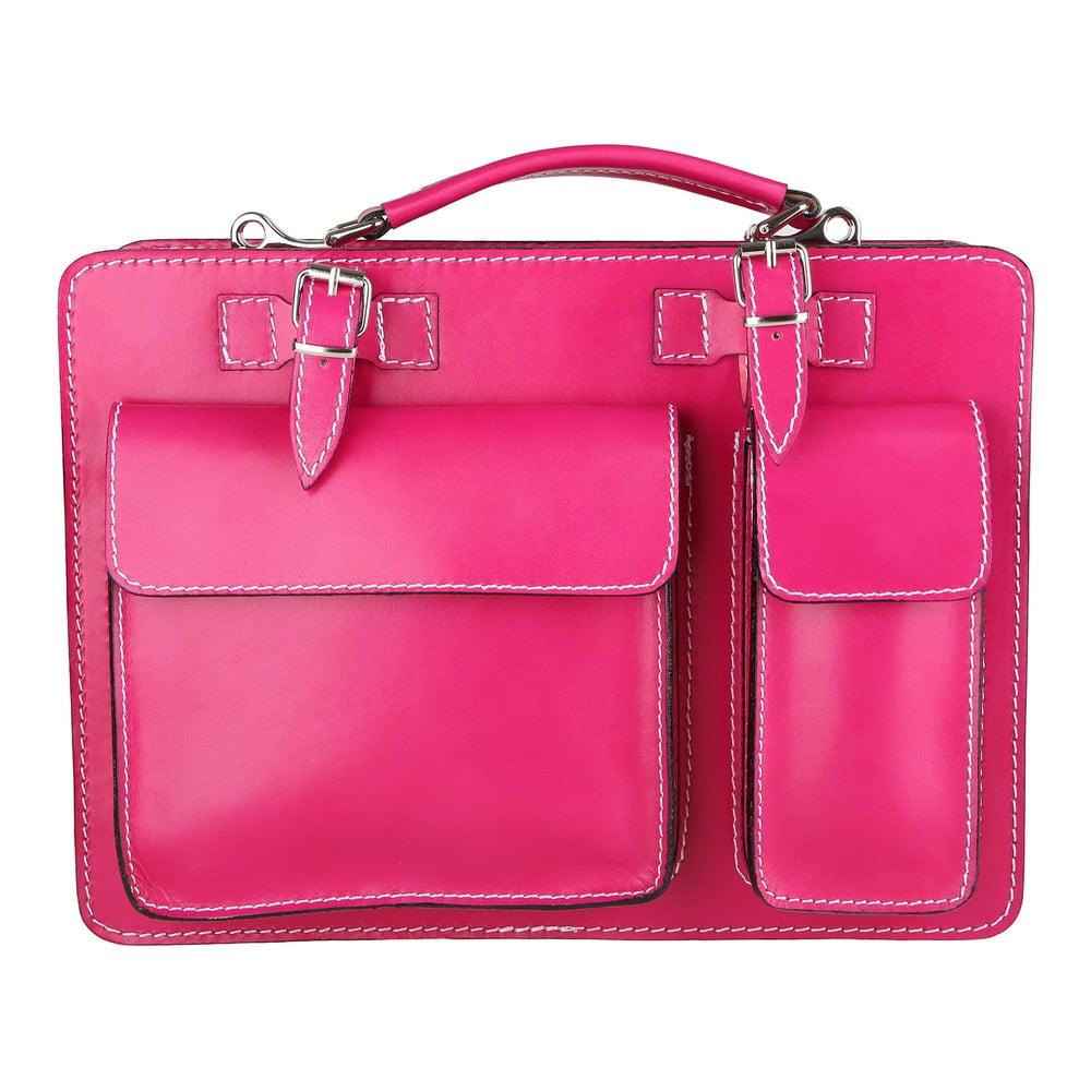 Ružová kožená taška Chicca Borse Gaia