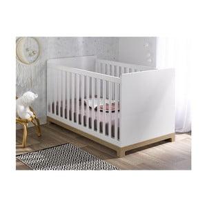 Biela variabilná detská postieľka BEBE Provence Escapade, 70 x 140 cm