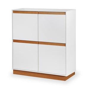 Biela skrinka s podstavcom a drevenými detailmi Dřevotvar Ontur 42