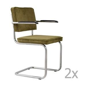 Sada 2 zelených stoličiek s opierkami Zuiver Ridge Rib
