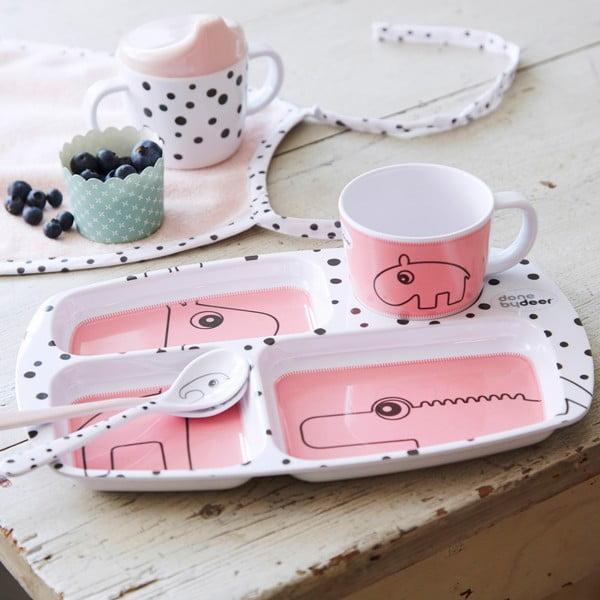 Jedálenský tanier pre deti Happy Dots, malinový