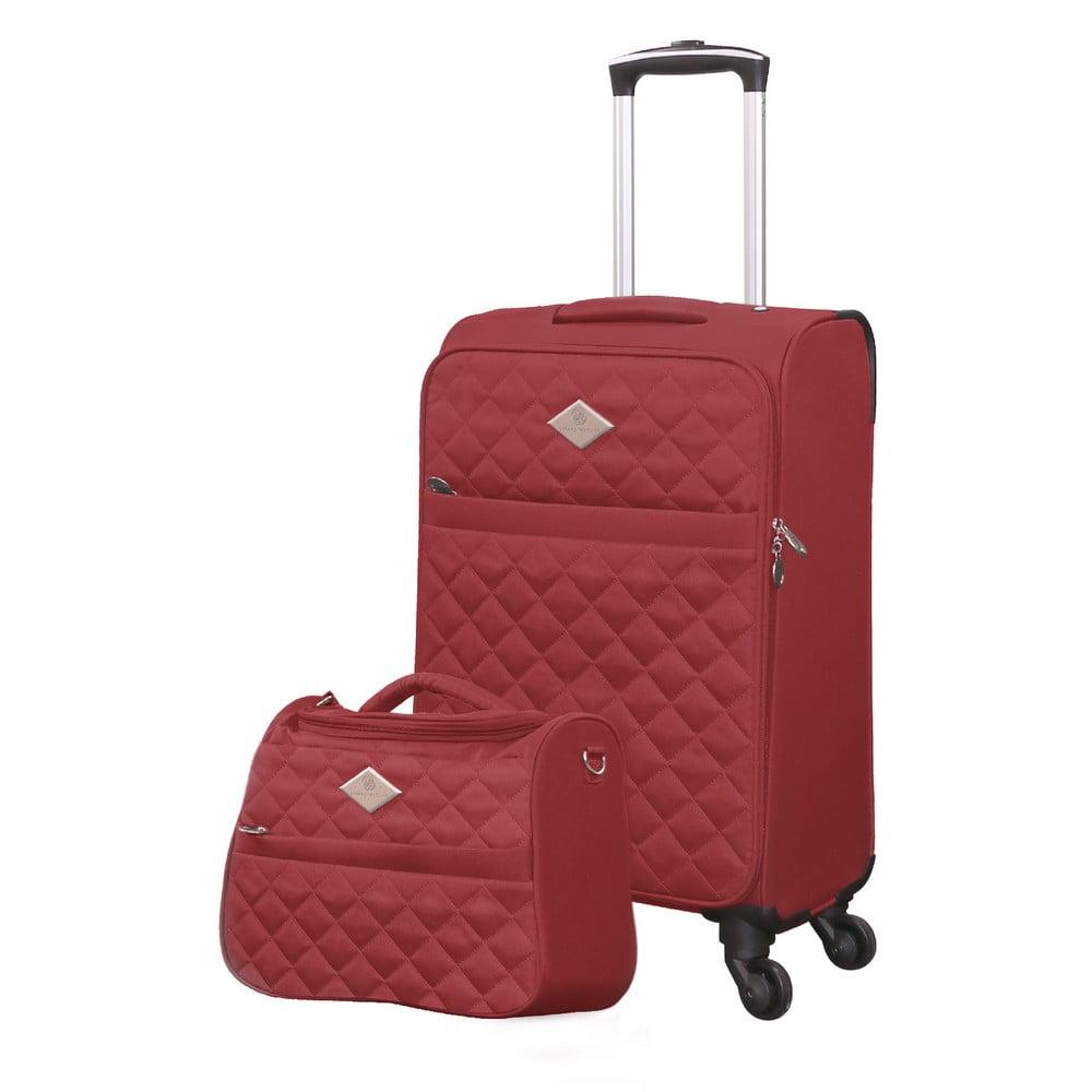 Set červeného cestovného kufra na kolieskach a menšieho kufríka GERARD PASQUIER Valises Cabine & Unity Case