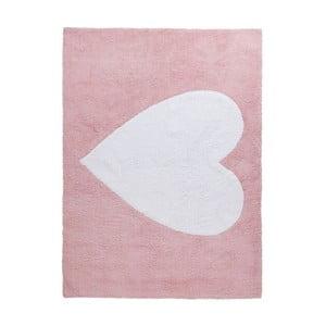 Ružový bavlnený koberec Happy Decor Kids Big Heart, 160x120cm