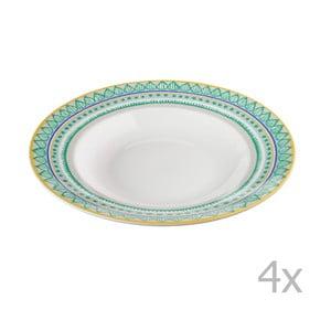 Sada 4 porcelánových tanierov na polievku Oilily 24,5 cm, zelená
