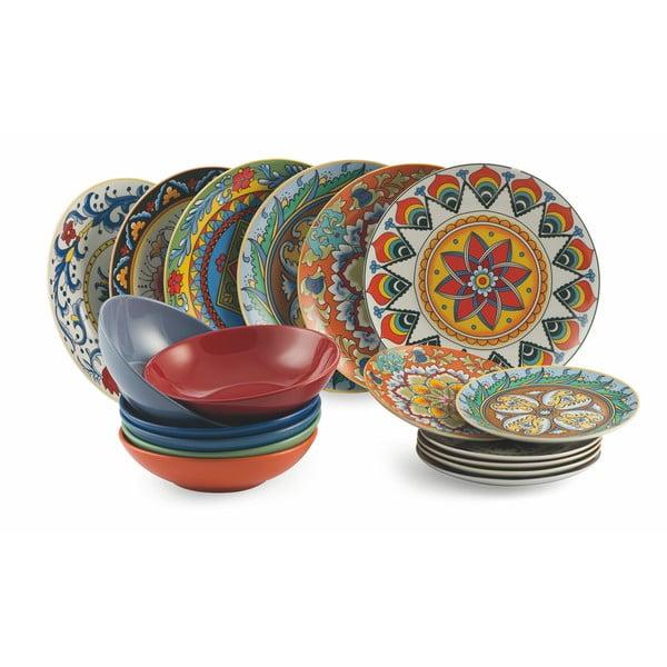 18-dielny set farebného riadu z porcelánu a kameniny Villa d'Este Renaissance