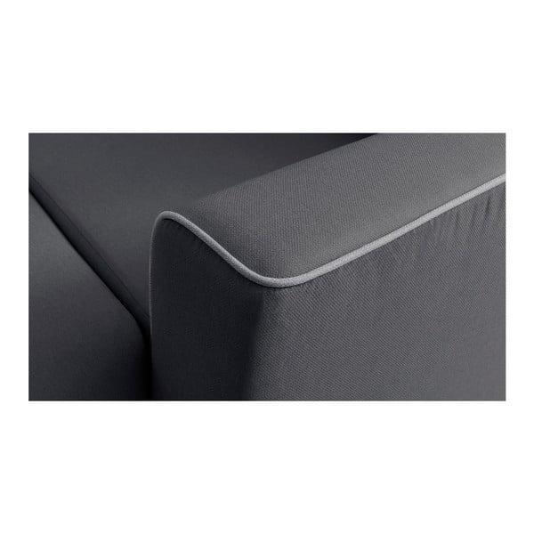 Tmavosivá rohová rozkladacia pohovka s leňoškou Bobochic Paris Panoramique XXL Mola, pravý roh