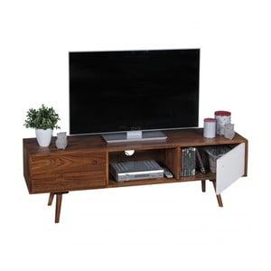 Hnedo-biela TV komoda z masívneho sheeshamového dreva Skyport REPA, výška 45 cm