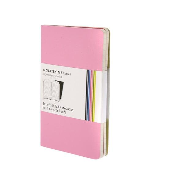 Sada 2 notesov Moleskine Pink, linkovaný 9x14 cm