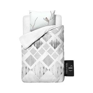 Obliečky z keprovej bavlny Dreamhouse Lanscape White, 140x220cm